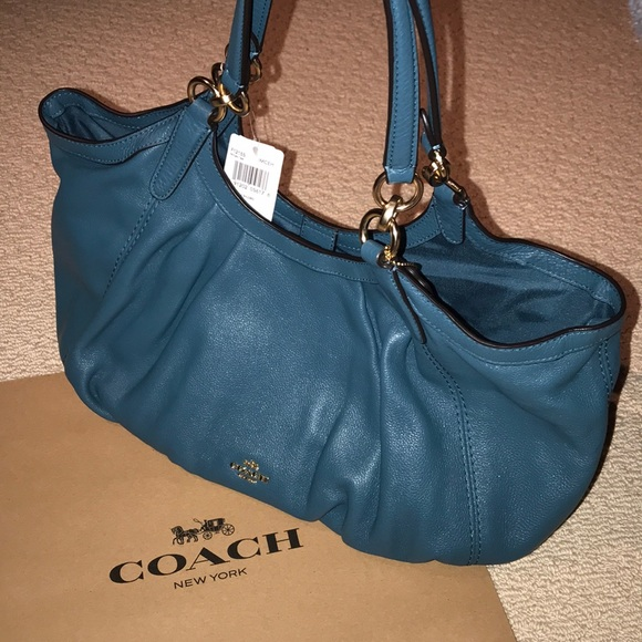 8ad6ca35ed3 Coach Bags   Teal Pebble Leather Hobo Slouch Bag Lily Nwt   Poshmark
